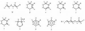 Karakteristične krajnje grupe karotenoida