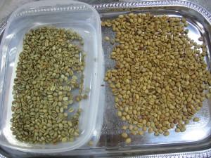 Sirovo zrno i zrno u toku prve faze pečenje