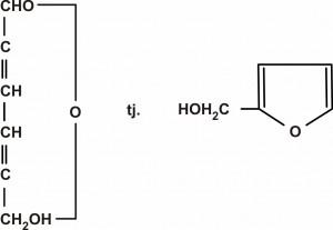 Hemijska formula 5-hidroksimetil-2-furfuralaldehida (HMF)