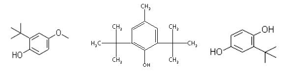 butilirani hidroksianisol (BHA), butilirani hidroksitoluen (BHT di-t-butilhidrokinonu (TBHQ)