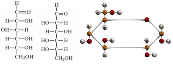 Fischer-ova formula D i L glukoza  i 3D izgled D-Glukoze