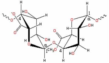 Isječak glavnog lanca poligalakturonske kiseline povezane a-1,4-glikozidnim vezama
