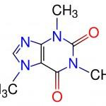 Molekularna struktura kofeina- trimetilksantin (C8H10N4O2)