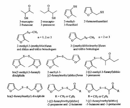Neki tioli, sulfidi i disulfidi nađeni u isparenjima kuvanog mesa