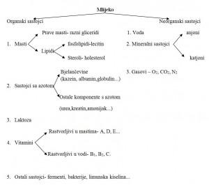 Šema 1. Sastojci mlijeka (Vajić, 1957)