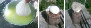 Odvajanje sira iz surutke i postavljanje sira na cijeđenje