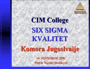 Prvi slajd na seminaru o Six Sigma