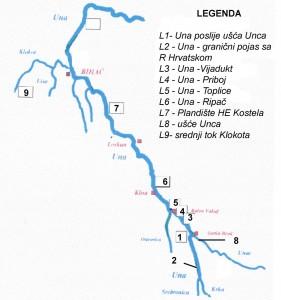 Lokaliteti izlova lipljena u slivu rijeke Une (Općina Bihać) oktobar 2001. god.