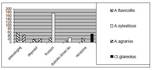 Broj konstatiranih vrsta na različitim tipovima tala